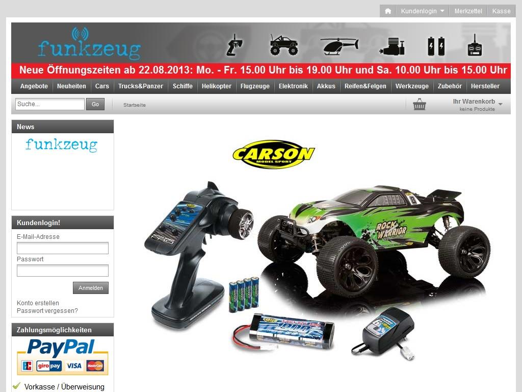 Hier sieht man einen Screenshot der Startseite unseres RC-Shops im Web